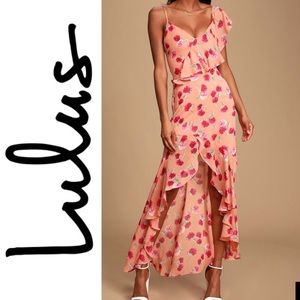 NWT Lulus Coral Orange Floral Ruffle Maxi Dress
